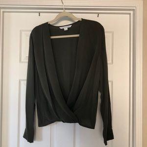 Olive green silk Diane Von Furstenberg blouse.
